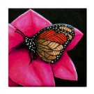 Ceramic Tile Coaster from art painting Cat 518 butterfly only