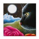 Ceramic Tile Coaster from art painting Cat 530 flower