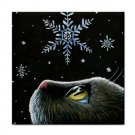 Ceramic Tile Coaster from art painting Cat 532 snow flake