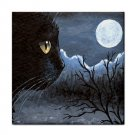 Ceramic Tile Coaster from art painting Cat 534 black cat