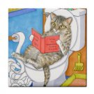 Ceramic Tile Coaster from art painting Cat 535 bathroom art