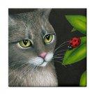 Ceramic Tile Coaster from art painting Cat 543 ladybug