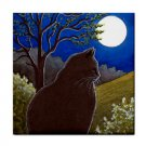 Ceramic Tile Coaster from art painting Cat 544 black cat