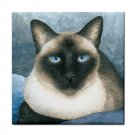 Ceramic Tile Coaster from art painting Cat 547siamese