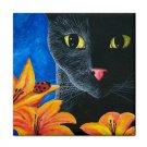 Ceramic Tile Coaster from art painting Cat 551 black cat Ladybug