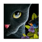 Ceramic Tile Coaster from art painting Cat 557 butterfly