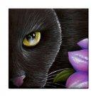 Ceramic Tile Coaster from art painting Cat 561 black cat flower