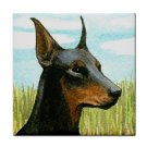Ceramic Tile Coaster from art painting Dog 39 Doberman