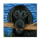 Ceramic Tile Coaster from art painting Dog 41 Black Lab