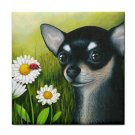 Ceramic Tile Coaster from art painting Dog 79 Chihuahua