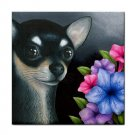 Ceramic Tile Coaster from art painting Dog 80 Chihuahua