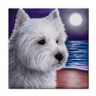 Ceramic Tile Coaster from art painting Dog 81 Westie West Highland