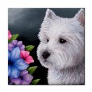 Ceramic Tile Coaster from art painting Dog 82 Westie West Highland