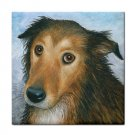 Ceramic Tile Coaster from art painting Dog 87