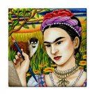 Ceramic Tile Coaster from art painting Frida Kahlo 2