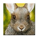 Ceramic Tile Coaster from art painting Hare 17 Rabbit