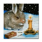 Ceramic Tile Coaster from art painting Hare 20 Rabbit Winter