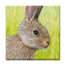 Ceramic Tile Coaster from art painting Hare 28 Rabbit