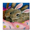 Ceramic Tile Coaster from art painting Hare 41 Rabbit