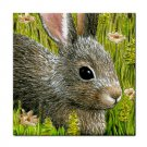 Ceramic Tile Coaster from art painting Hare 45 Rabbit