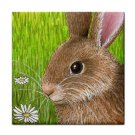 Ceramic Tile Coaster from art painting Hare 57 Rabbit