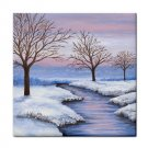 Ceramic Tile Coaster from art painting Landscape 231 Winter River