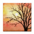 Ceramic Tile Coaster from art painting Landscape 289 Tree Sunset