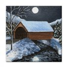 Ceramic Tile Coaster from art painting Landscape 297 Winter Covered Bridge