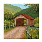 Ceramic Tile Coaster from art painting Landscape 303 Covered Bridge