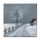 Ceramic Tile Coaster from art painting Landscape 307 Winter