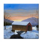 Ceramic Tile Coaster from art painting Landscape 310 Winter Covered Bridge