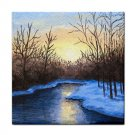 Ceramic Tile Coaster from art painting Landscape 342 Winter River