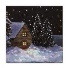 Ceramic Tile Coaster from art painting Landscape 368 Winter Cottage