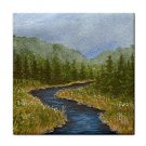 Ceramic Tile Coaster from art painting Landscape 372 River