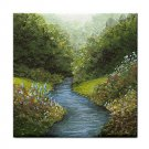 Ceramic Tile Coaster from art painting Landscape 376 River