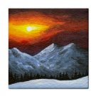Ceramic Tile Coaster from art painting Landscape 421 Mountain Winter