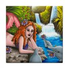Ceramic Tile Coaster from art painting Mermaid 8 Dolphin