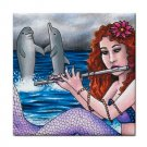 Ceramic Tile Coaster from art painting Mermaid 11 Dolphin Flute