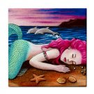 Ceramic Tile Coaster from art painting Mermaid 12 Dolphin