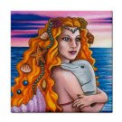 Ceramic Tile Coaster from art painting Mermaid 13 Dolphin