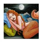 Ceramic Tile Coaster from art painting Mermaid 42 Dolphin
