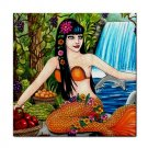 Ceramic Tile Coaster from art painting Mermaid 43 Dolphin