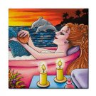 Ceramic Tile Coaster from art painting Mermaid 48 Dolphin Bath