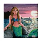 Ceramic Tile Coaster from art painting Mermaid 54 Dolphin