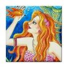 Ceramic Tile Coaster from art painting Mermaid 61 Fish