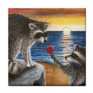 Ceramic Tile Coaster from art painting Raccoon 12 Flower