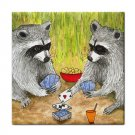 Ceramic Tile Coaster from art painting Raccoon 14 playing cards