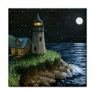 Ceramic Tile Coaster from art painting Sea View 194 Lighthouse