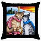 Throw Pillow Case from art painting Cat 318 Winter