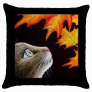 Throw Pillow Case from art painting Cat 442 Fall Autumn